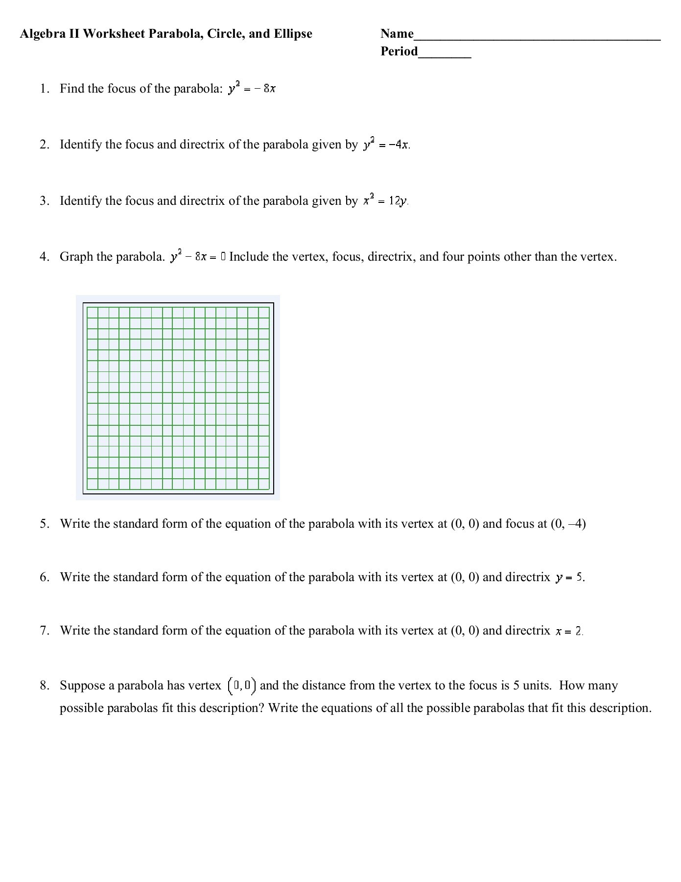 Writing Equation Of Parabola Given 3 Points Worksheet