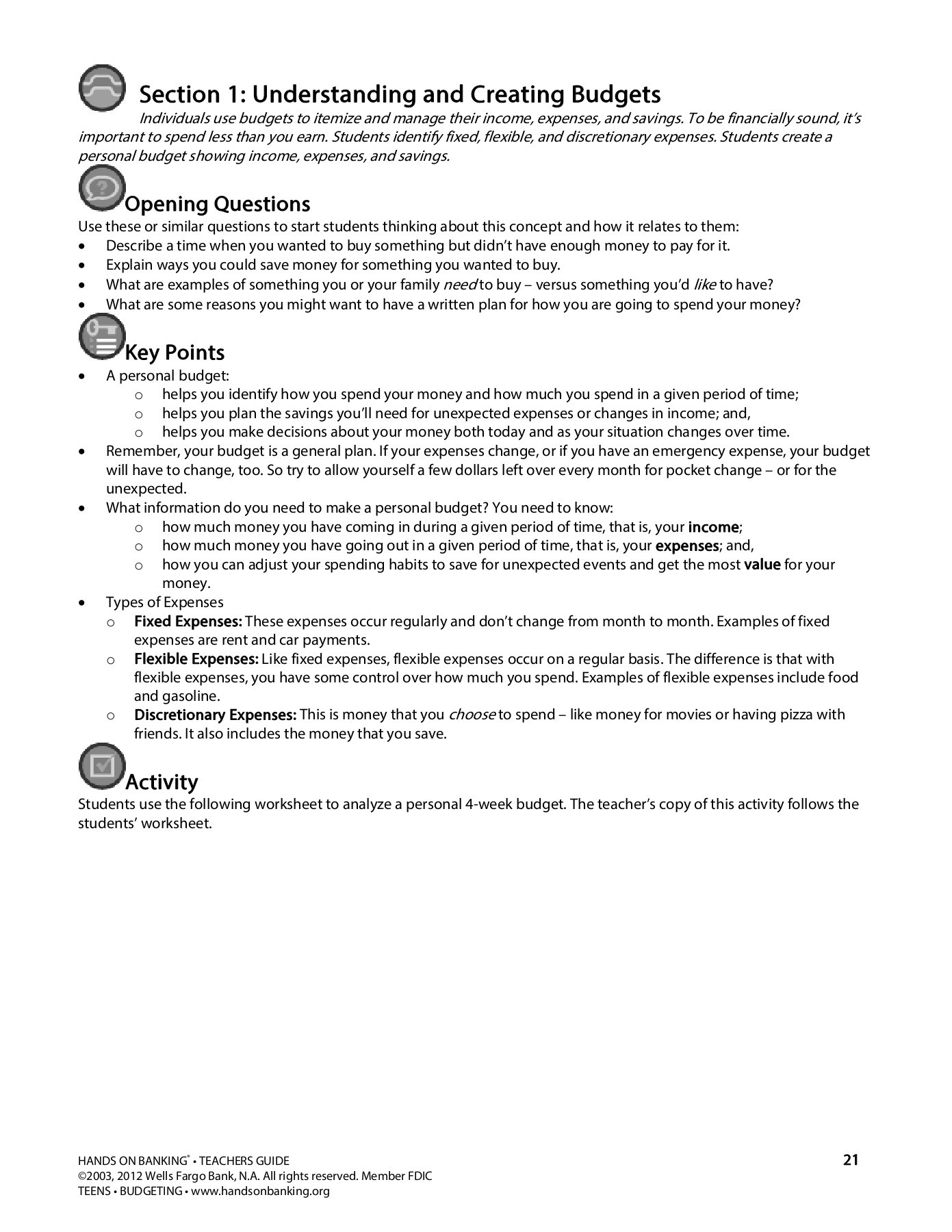 Wells Fargo Budget Worksheet
