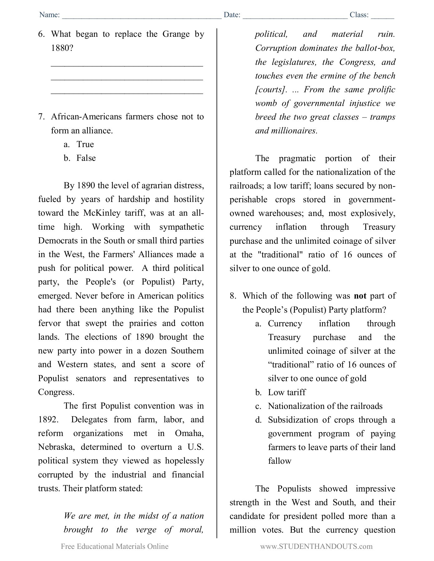 Farmers And The Populist Movement Worksheet Answers
