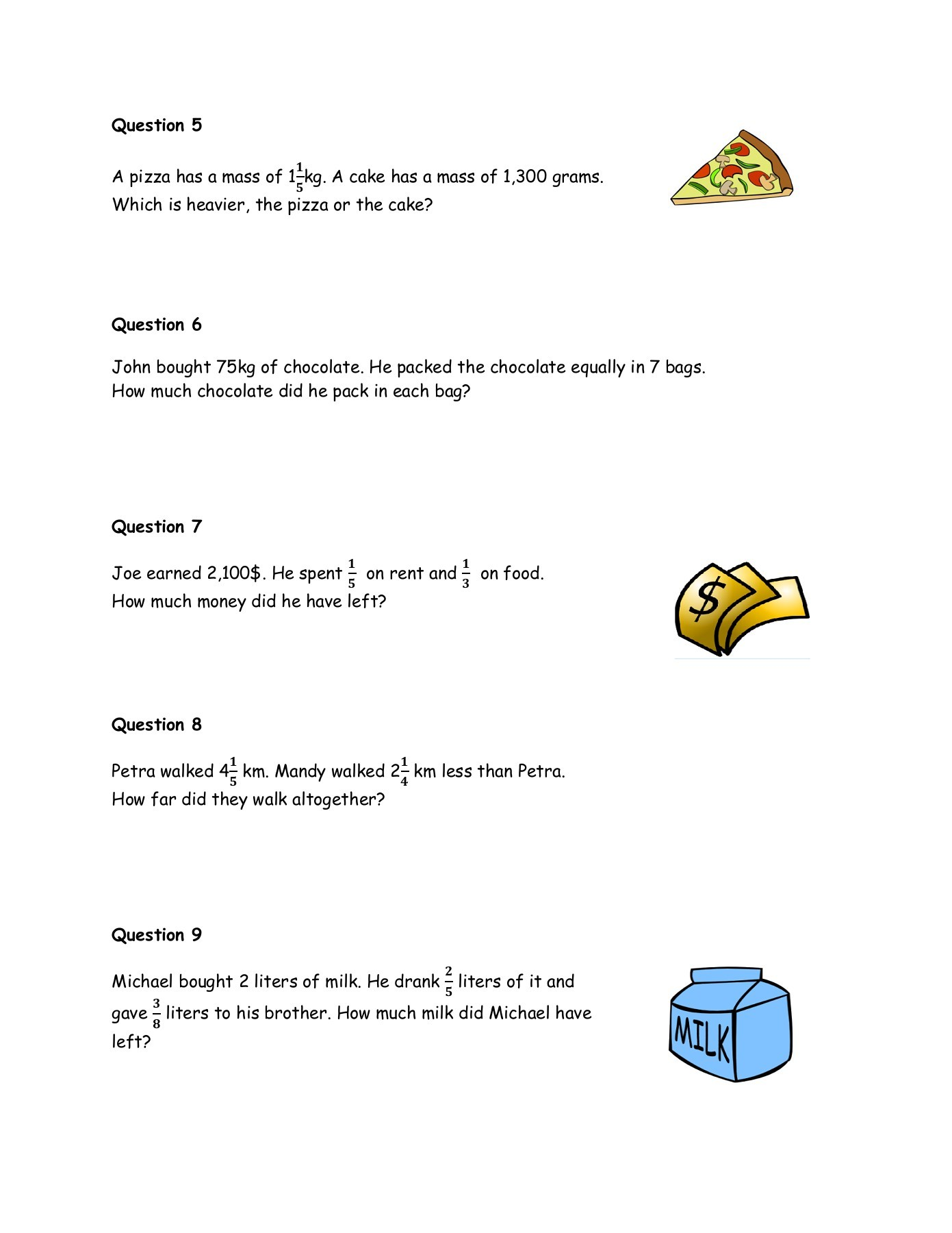 Worksheet On Word Problems On Fractions