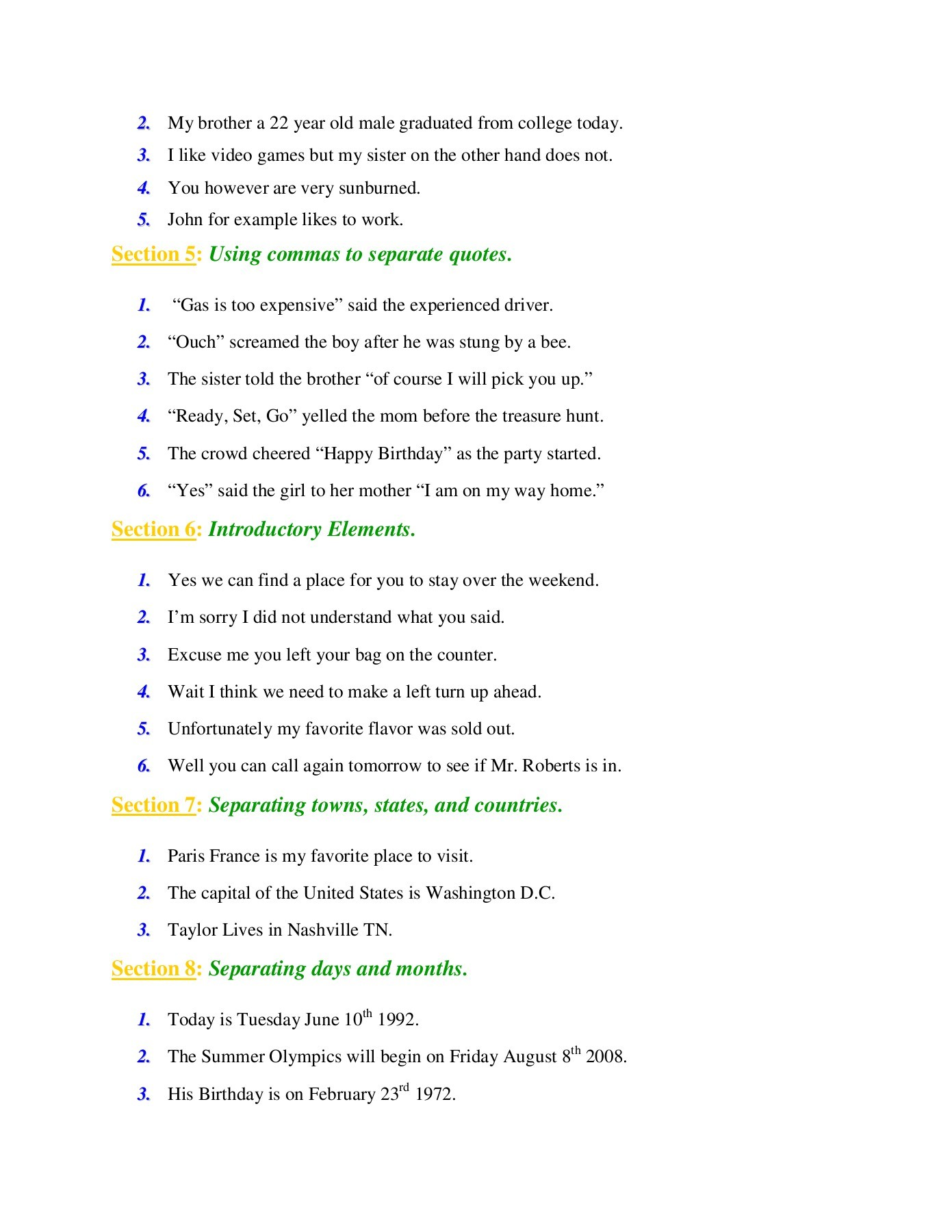 Printables Of 8 Comma Rules Worksheet Answers