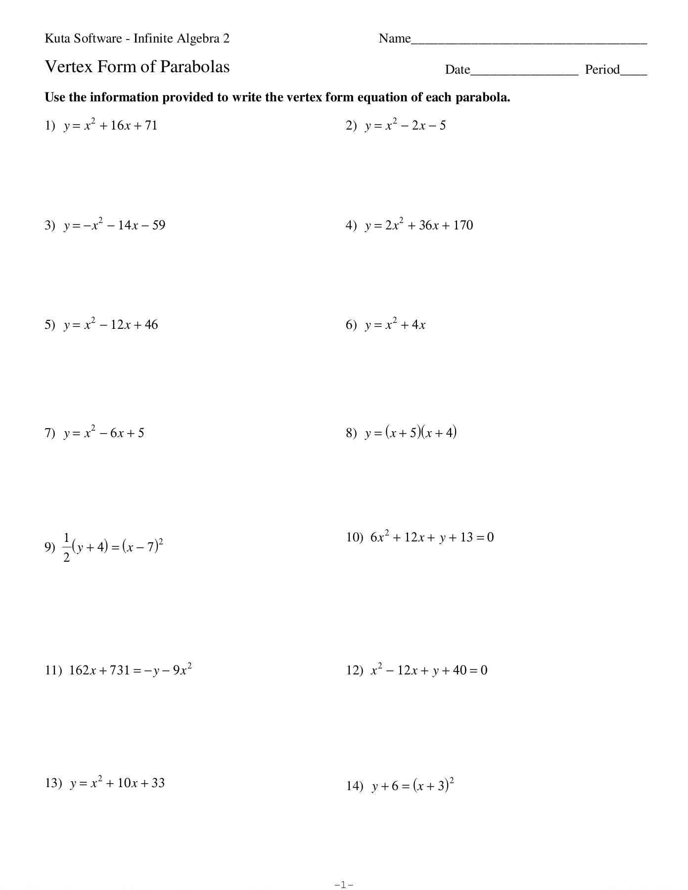 Writing Equations Worksheet Kuta