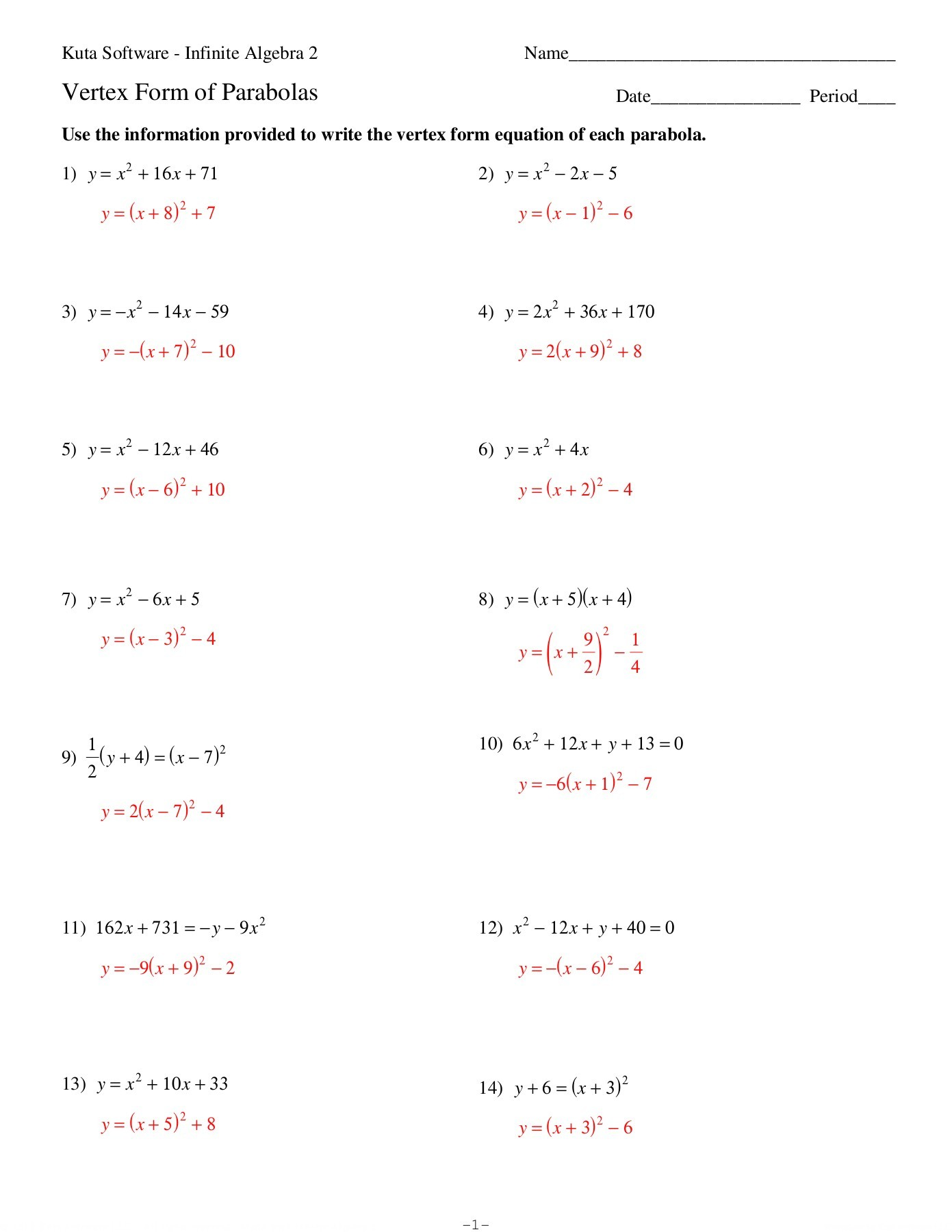 Vertex Form Of A Quadratic Function Worksheet