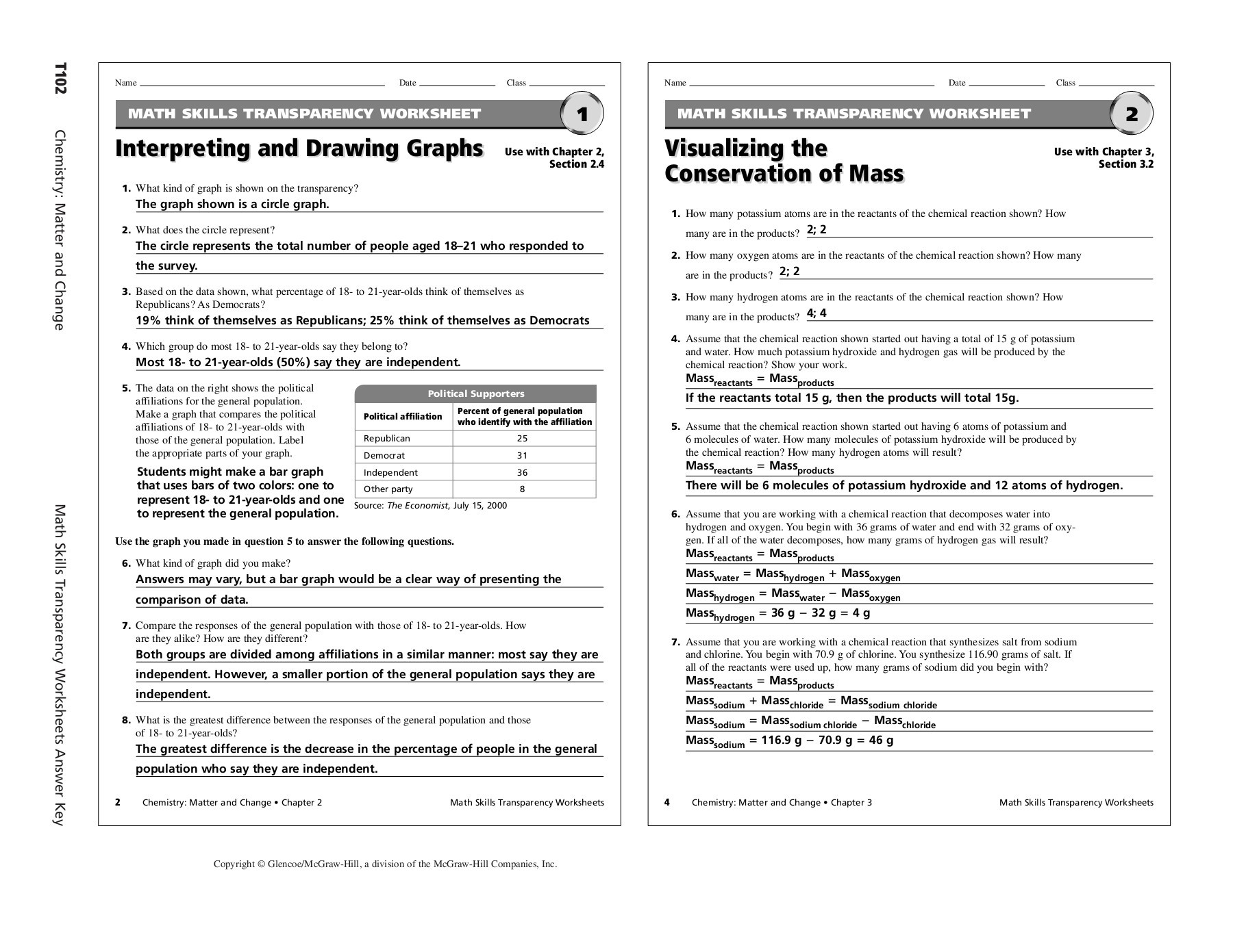 Teaching Transparency Worksheet Answers Chapter 18