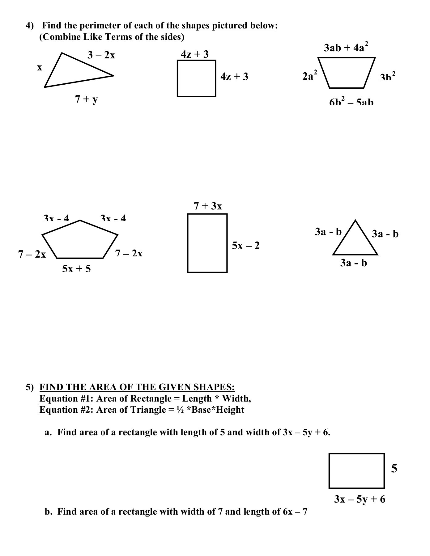 Worksheet On Bining Like Terms And Distributive Property