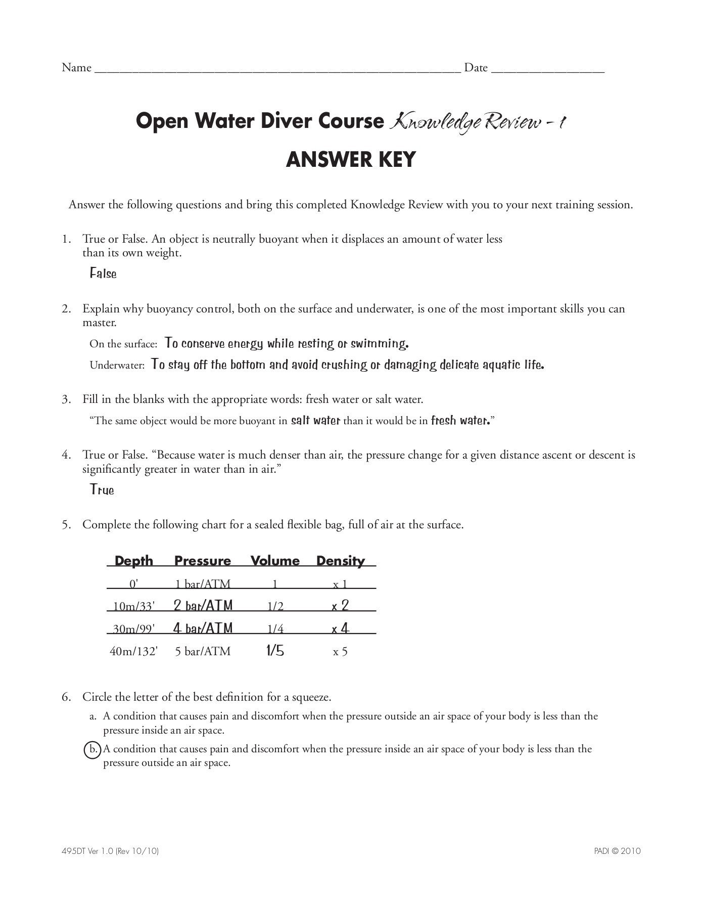 Density Review Worksheet Answer Key