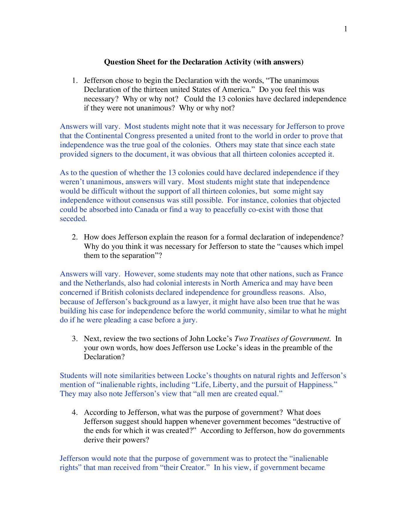 Understanding The Declaration Of Independence Worksheet