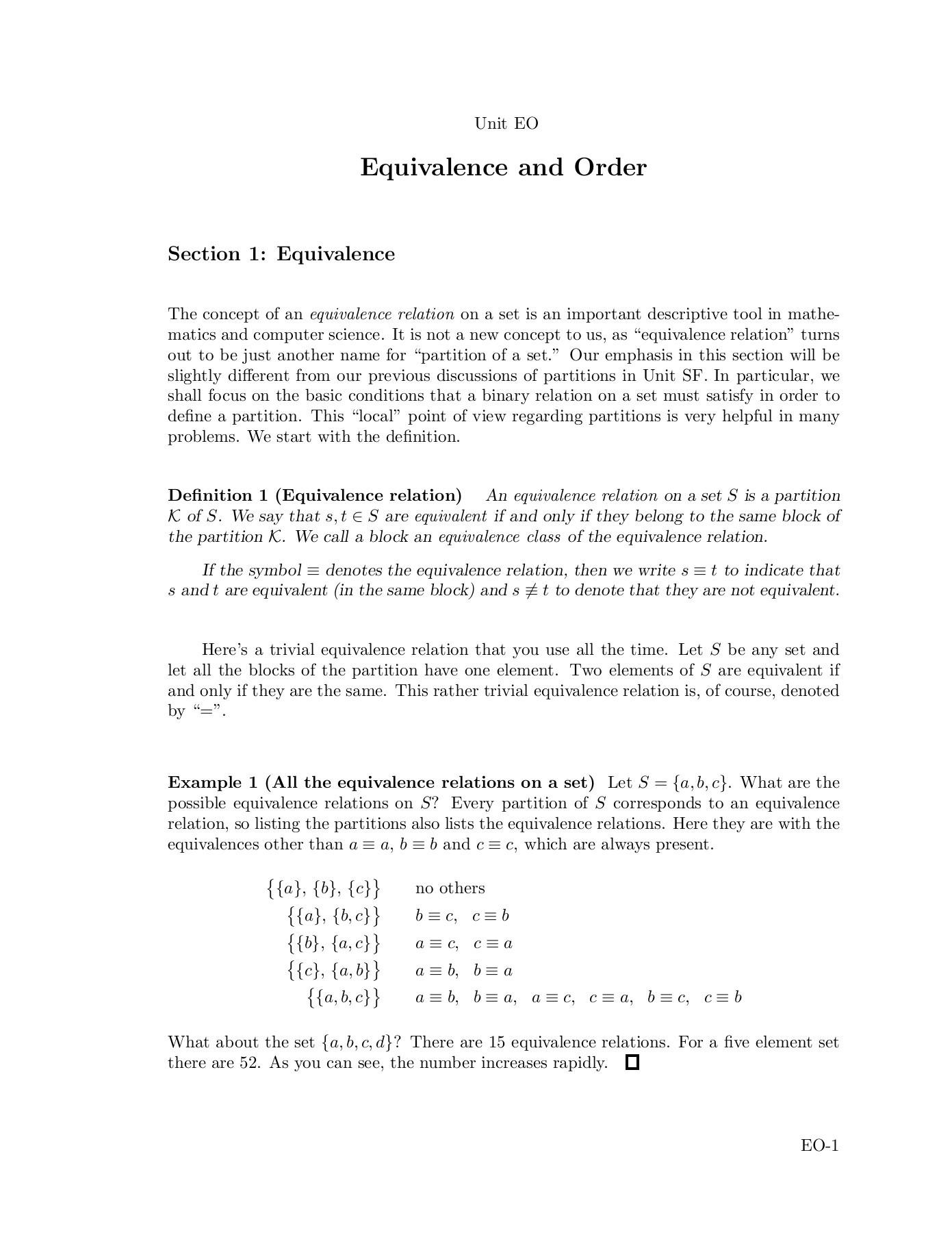 Definition Of Non Equivalent Set In Mathematics