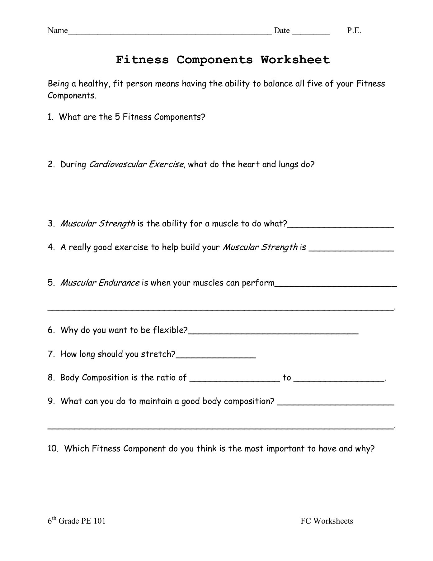 5 Components Of Fitness Worksheet