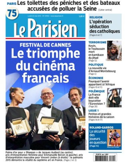 Le Parisien + Journal de Paris du lundi 25 mai 2015