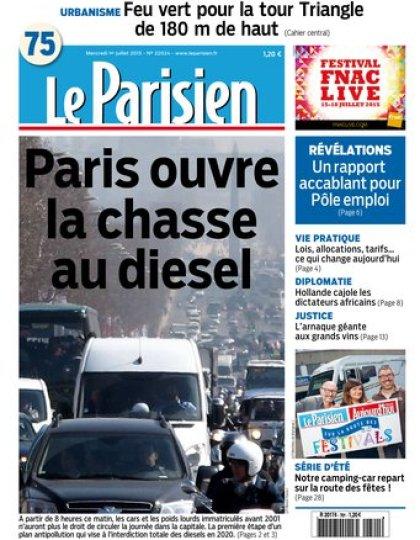 Le Parisien + journal de Paris du mercredi 01 juillet