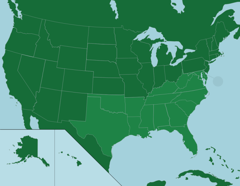 The U S   States in the South   Map Quiz Game