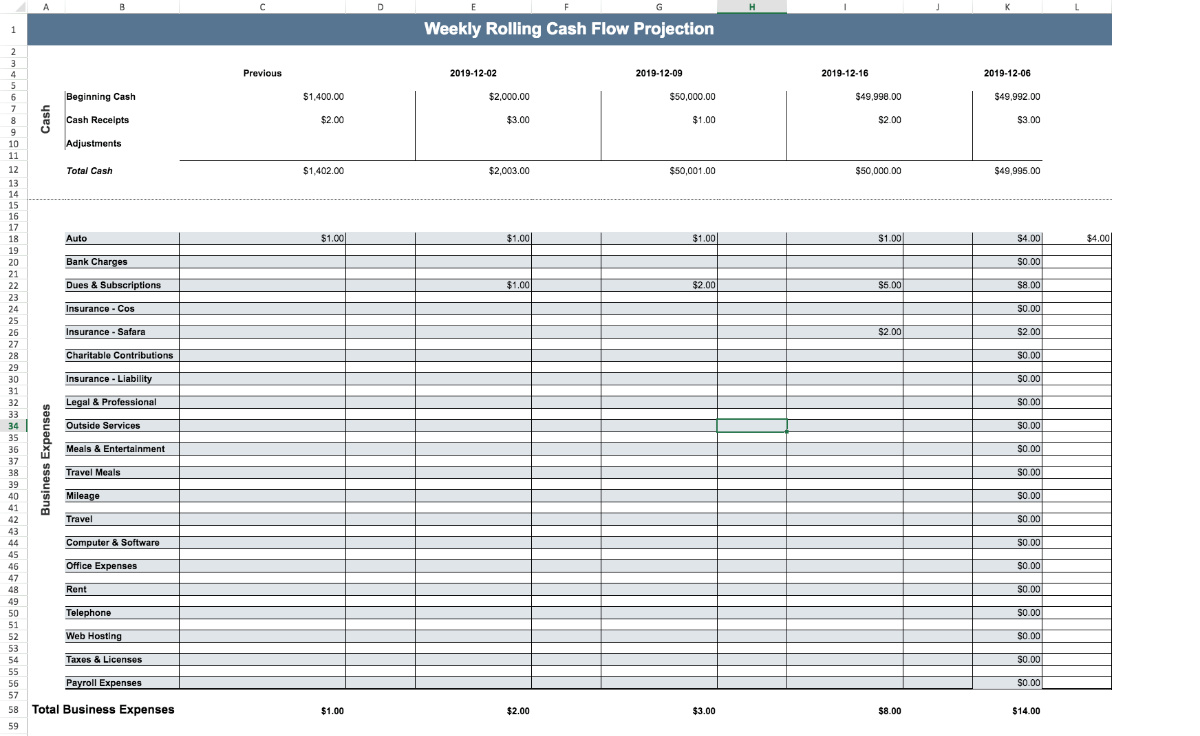Weekly Cash Flow Template