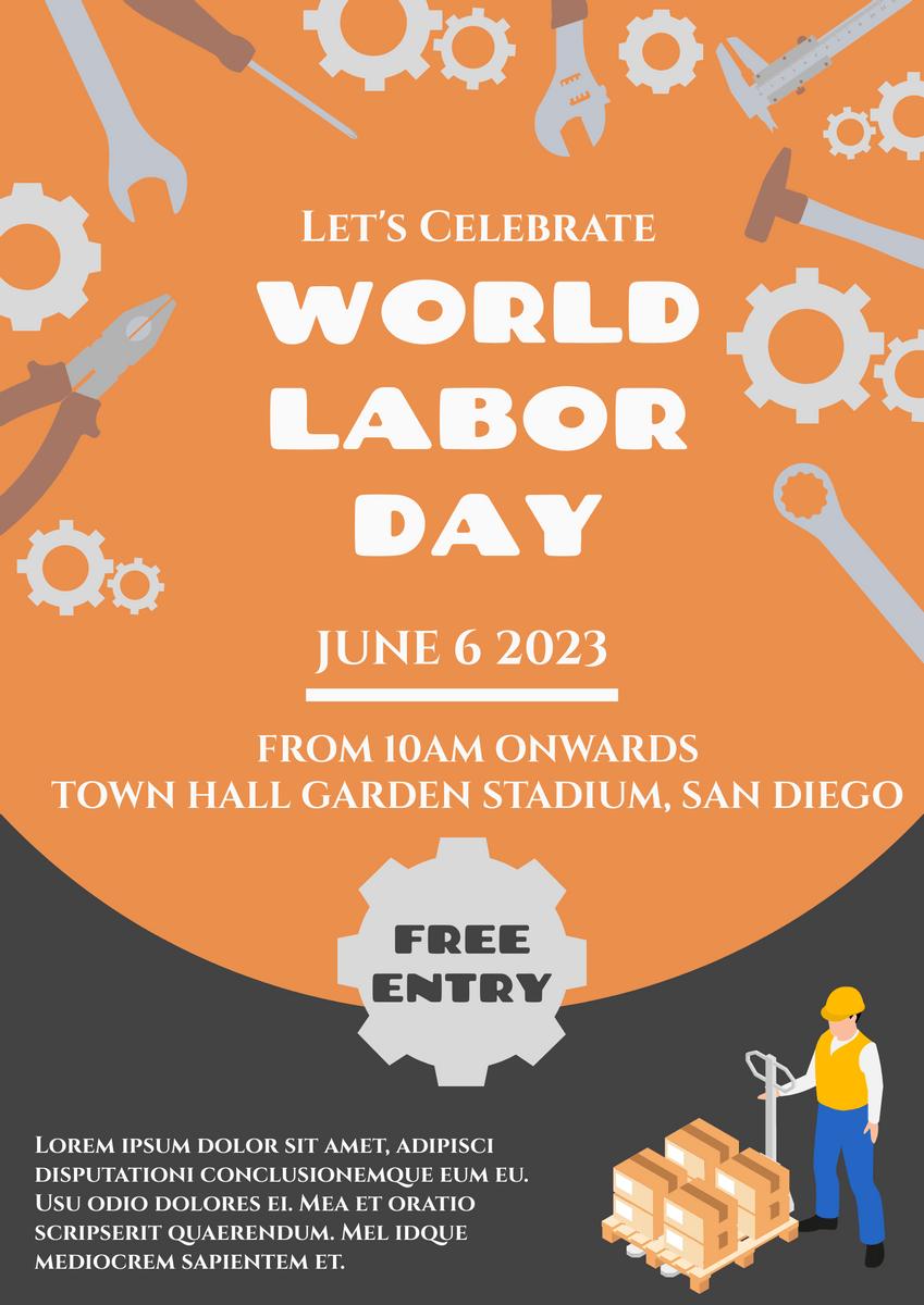 https online visual paradigm com infoart templates posters orange world labor day poster