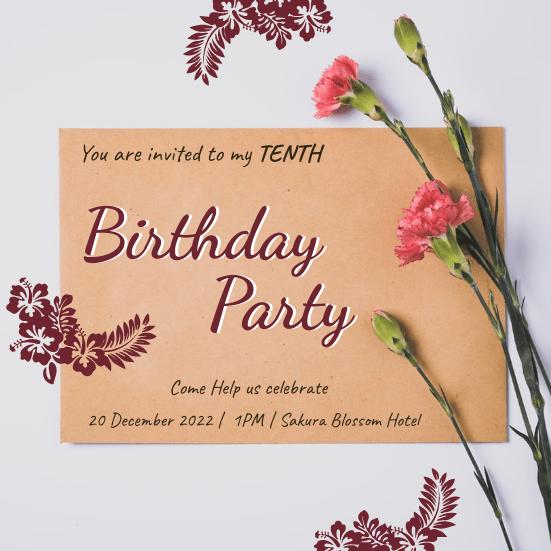 elegant floral tenth birthday party