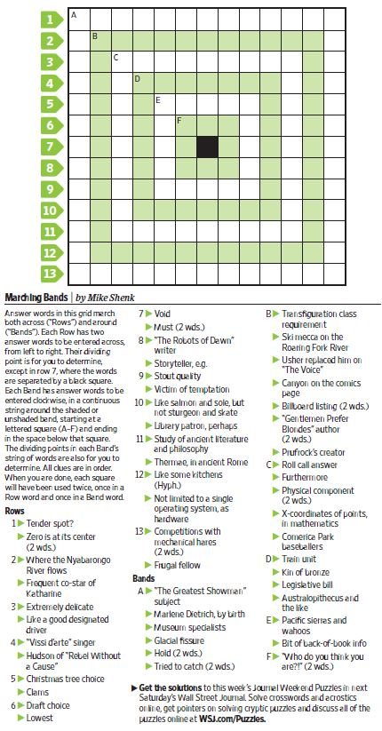 Marching Bands Saturday Puzzle Feb 3 WSJ Puzzles WSJ