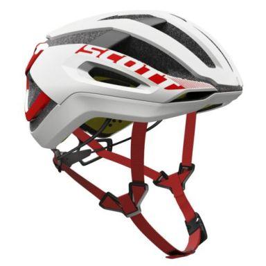 【ワイズロードオンライン限定特価】SCOTT ( スコット ) ヘルメット HELMET CENTRIC PLUS ホワイト レッド L☆ほかのサイズもございます
