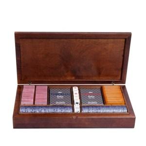 EDE905007-Κασετίνα καρυδιάs Radica με μάρκες & τράπουλες 307419 | Online4U Shop