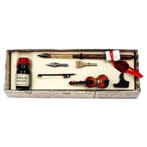 EDA751015 Πένα ξύλινη με εργαλεία γραφής και μελανοδοχείο Francesco Rubinato 4072/BIS/MU
