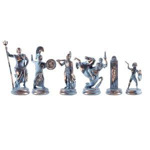EDE854015-01 Χειροποίητα μεταλλικά πιόνια της Ελληνικής Μυθολογίας μπλε/χάλκινα
