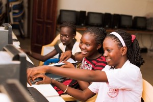 females learning on computers