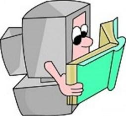 Cartoon of a desktop computer reading a book