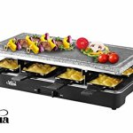 Artestia-Electric-Raclette-Grill-with-Two-Top-Plates-Cast-Aluminum-Reversible-Grill-Plate-and-High-Density-Granite-Grill-Stone-Serve-8-Persons-0-0