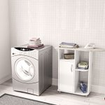 Boahaus-Ironing-Cart-White-4-casters-wheels-1-closed-compartment-0-2
