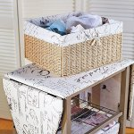 French-Script-Pattern-Ironing-Board-Center-Iron-Station-Laundry-With-Storage-Baskets-0-1
