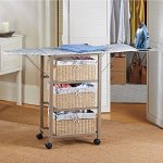 French-Script-Pattern-Ironing-Board-Center-Iron-Station-Laundry-With-Storage-Baskets-0