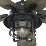 Hunter-Fan-54-Weathered-Zinc-Outdoor-Ceiling-Fan-with-a-Clear-Glass-LED-Light-Kit-and-Remote-Control-5-Blade-Certified-Refurbished-0-2