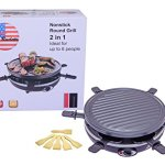 King-of-Raclette-2-IN-1-ROUND-Party-BBQ-Grill-with-Temperature-Control-Safety-Indicator-Electric-Nonstick-BBQ-Indoor-Grill-Outdoor-Grills-for-up-to-6-People-0-1