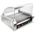Olde-Midway-Electric-30-Hot-Dog-11-Roller-Grill-Cooker-Machine-1200-Watt-with-Cover-Commercial-Grade-0-0