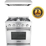 Thor-Kitchen-2-Piece-Kitchen-Package-with-30-Pro-Style-4-Burner-Stainless-Steel-Gas-Range-and-30-Under-Cabinet-Range-Hood-Stainless-Steel-0