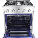 Thor-Kitchen-HRG3080U-30-Freestanding-Professional-Style-Gas-Range-with-42-cu-ft-Oven-4-Burners-Convection-Fan-Cast-Iron-Grates-and-Blue-Porcelain-Oven-Interior-in-Stainless-Steel-0-1