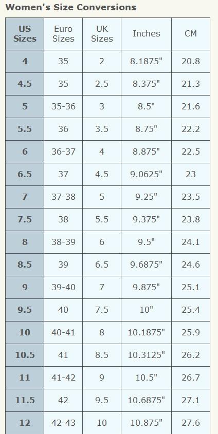 Avon Shoe Size Chart For Women Online Beauty Boss
