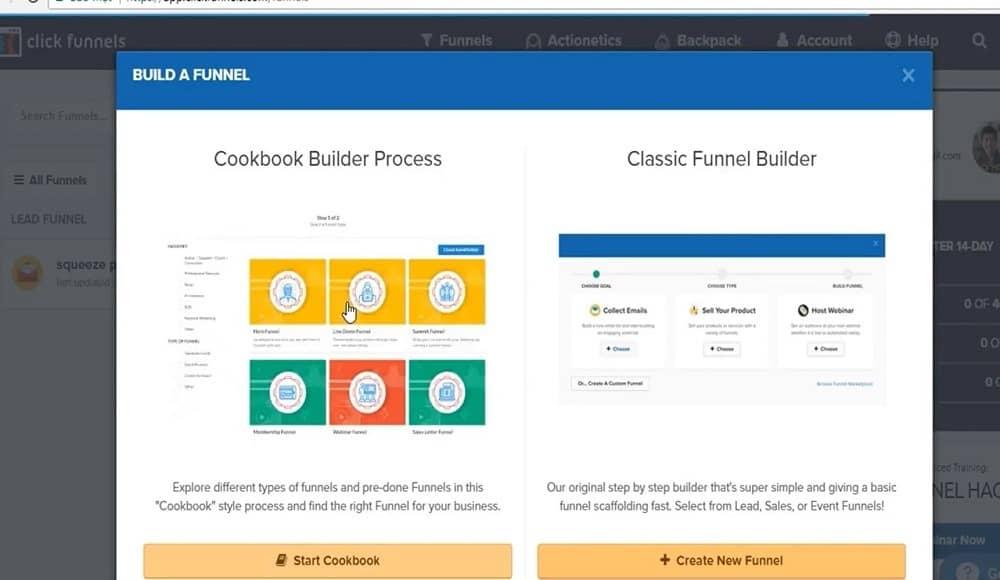 Clickfunnels ricettario funnel builder_classic builder