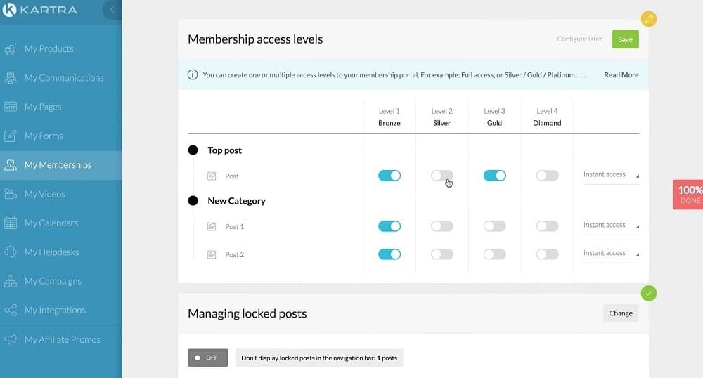 Kartra membership access levels