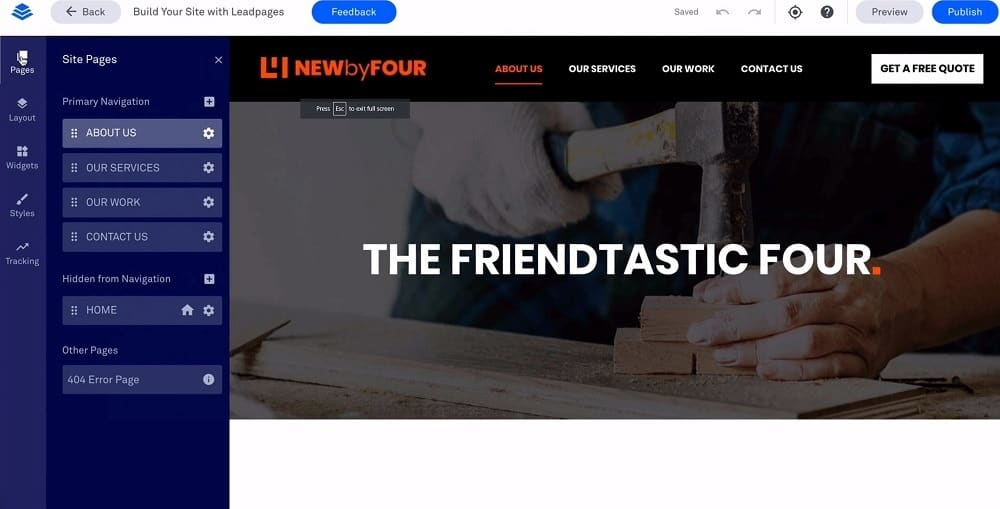 leadpages site builder demo