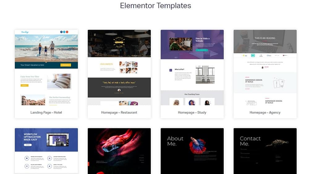 elementor templates