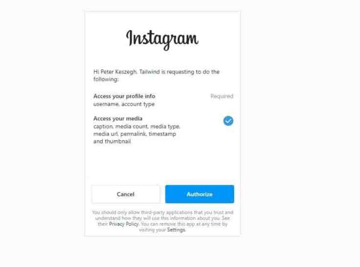 Authorize Tailwind for Instagram