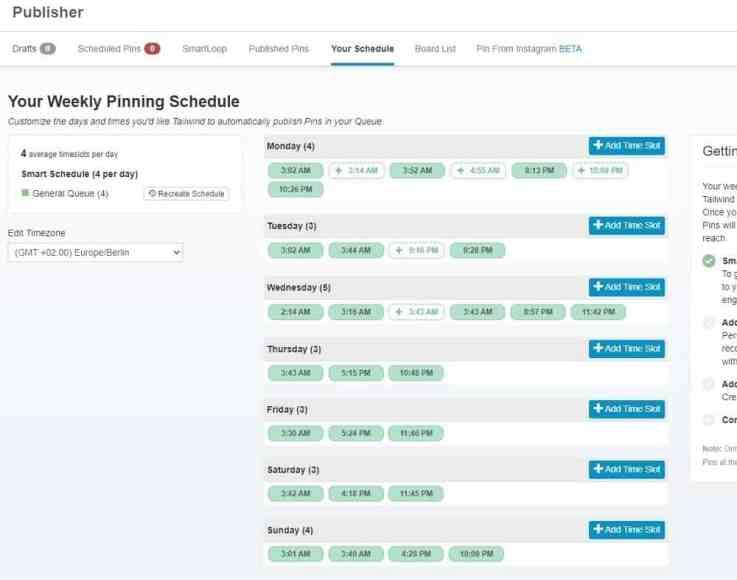 Pin schedule