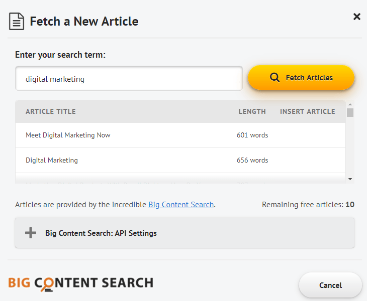 Spin Rewriter fetch a new article