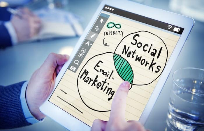 social media with email marketing