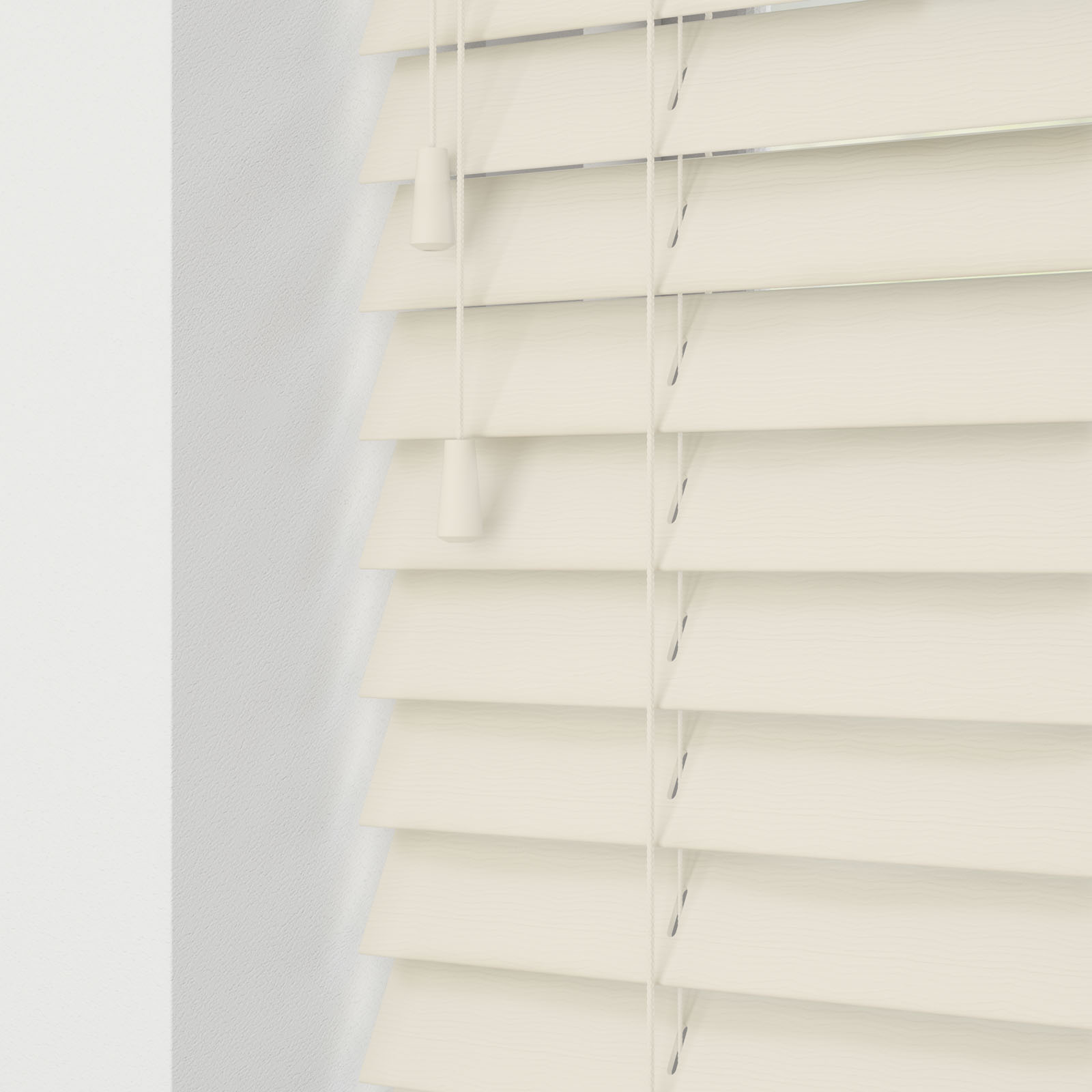 Mirage Cream Faux Wood Venetian Blinds With Cords And Wood Grain Effect Quality Window Blinds By The Online Blind Company