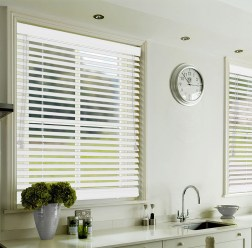 White Faux Wood Venetian Blinds for Kitchen