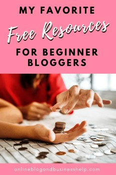 """hands creating a stack of coins with Text """"free resources for beginner bloggers"""""""