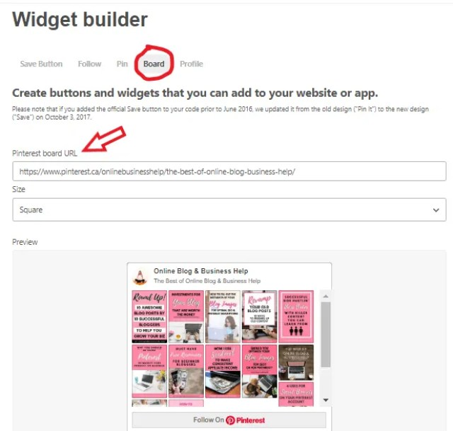 Pinterest Board Widget Builder