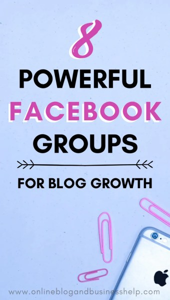 "iPhone and pink paper clips with the text ""8 Powerful Facebook Groups for Blog Growth"""