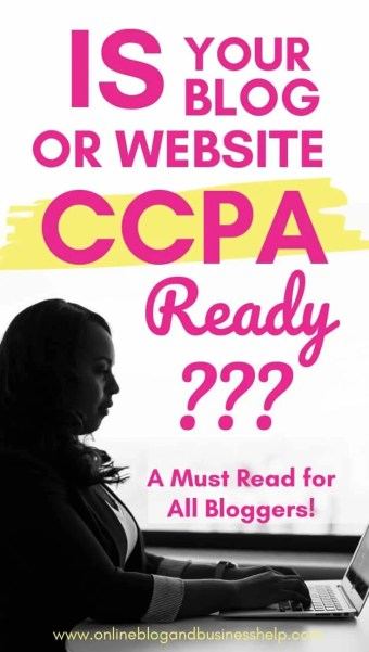 "OvWoman typing on laptop with text above ""Is Your Blog or Website CCPA Compliant?"""